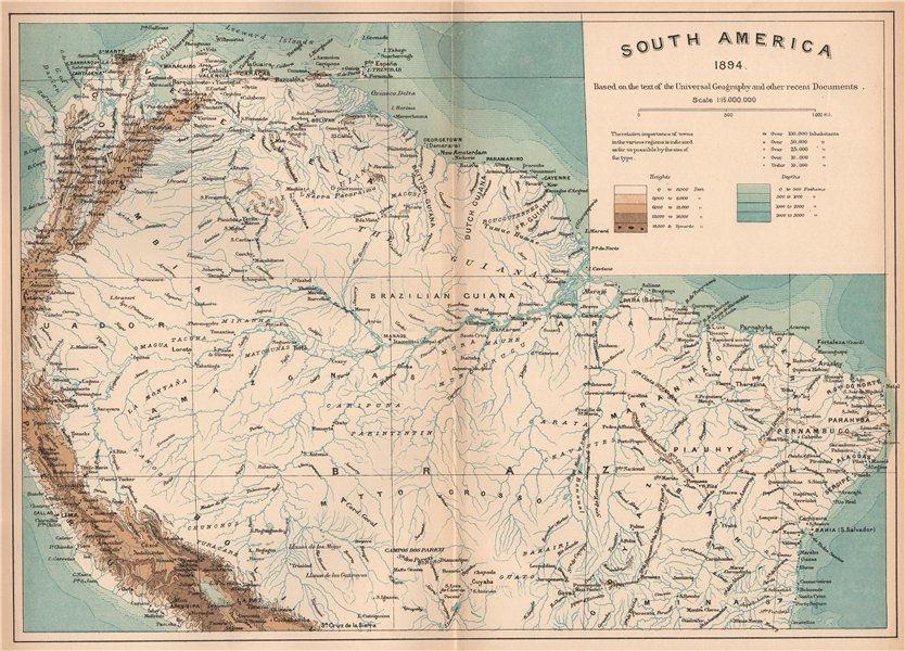 Associate Product Northern South America.Brazil Guianas Venezuela Colombia Ecuador Peru 1885 map