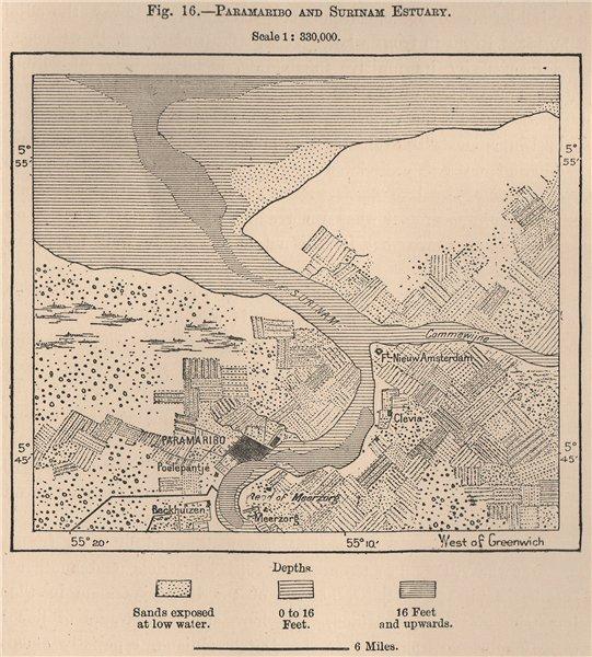 Associate Product Paramaribo and Surinam Estuary. Suriname. Dutch Guyana 1885 old antique map