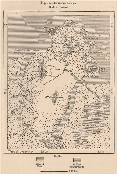 Associate Product Cayenne Island. French Guiana 1885 old antique vintage map plan chart