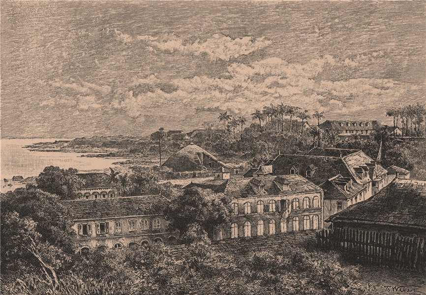 Associate Product Cayenne - View from Fort Cépérou. French Guiana 1885 old antique print picture