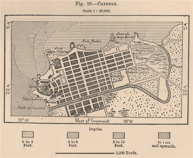 Associate Product Cayenne. French Guiana 1885 old antique vintage map plan chart