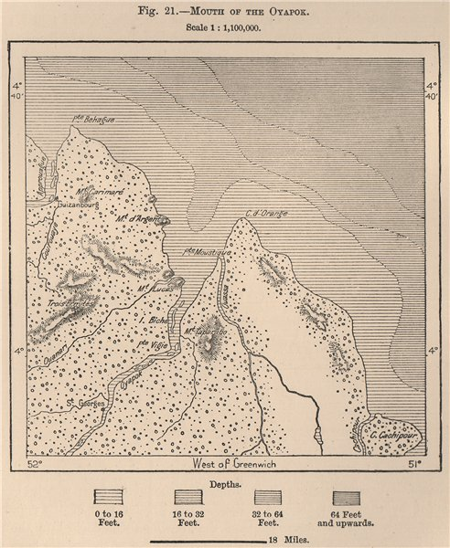 Associate Product Mouth of the Oyapok/Oiapoque/Oyapock River. French Guiana/Brazil 1885 old map