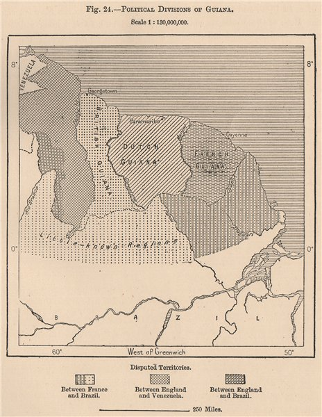 Associate Product Political divisions of Guyana. French Dutch British Brazil Venezuela 1885 map