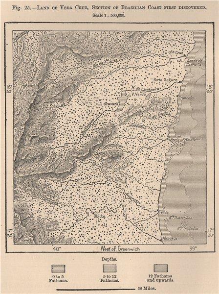 Associate Product Land of/Ilha de Veracruz, part of Brazilian coast first discovered 1885 map