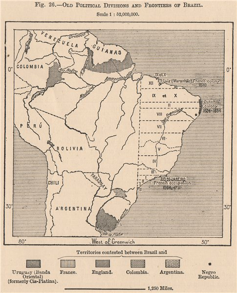 Associate Product Old Political divisions & frontiers of Brazil. Disputed borders 1885 map