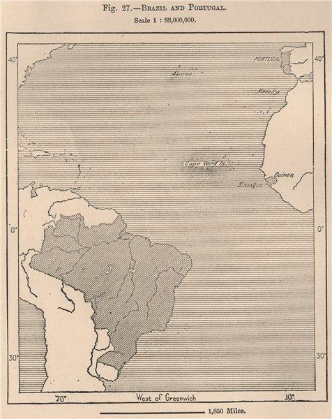 Associate Product Brazil, Portugal & Guinea-Bissau. Atlantic Ocean 1885 old antique map chart