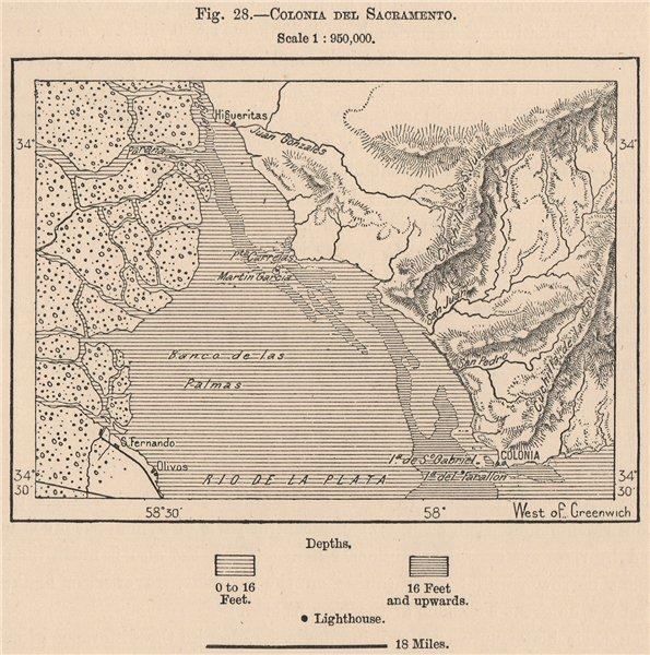 Colonia del Sacramento. Uruguay. Brazil 1885 old antique map plan chart