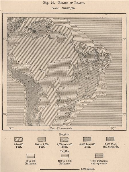 Associate Product Relief of Brazil 1885 old antique vintage map plan chart