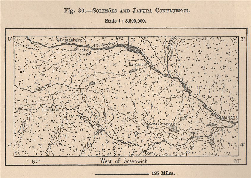 Solimões and Japura Confluence. Manaus. Brazil. Amazonia 1885 old antique map