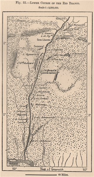 Associate Product Lower course of the Rio Branco. Roraima Boavista Brazil. Amazonia 1885 old map