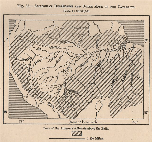 Amazonian depression & outer zone of the Cataracts. South America 1885 old map
