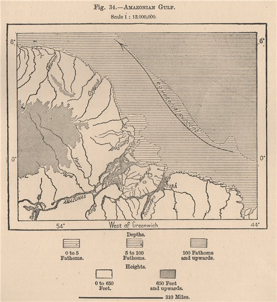 Associate Product Amazonian Gulf. Brazil. Amazonia 1885 old antique vintage map plan chart