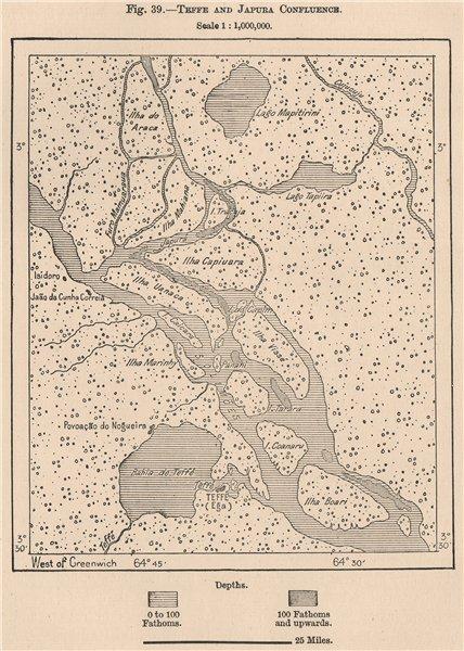 Associate Product Rio Tefé(Teffe)and Japura/Caquetá River confluence.Brazil.Amazonia 1885 map
