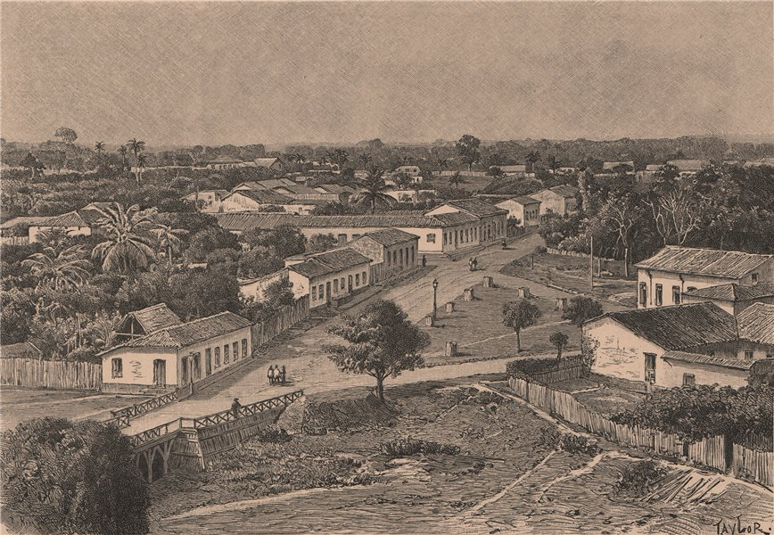 Associate Product Manaus - View from the Suburbs. Brazil. Amazonia 1885 old antique print