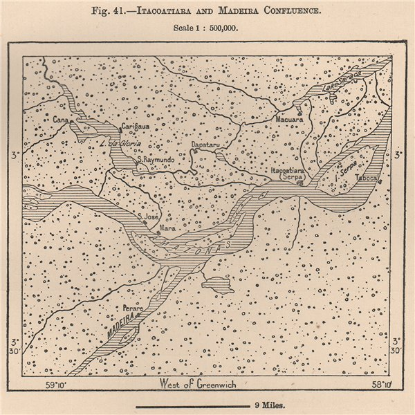 Associate Product Itacoatiara and Amazon/Madeira confluence. Brazil. Amazonia 1885 old map