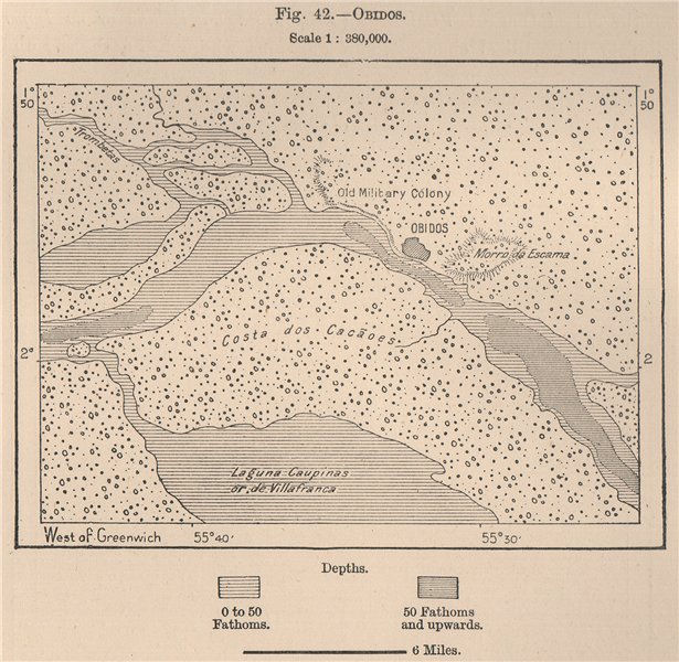 Associate Product Obidos. Para, Brazil. Amazonia 1885 old antique vintage map plan chart