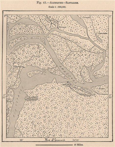 Associate Product Alenquer & Santarem. Rio Tapajos. Para, Brazil. Amazonia 1885 old antique map