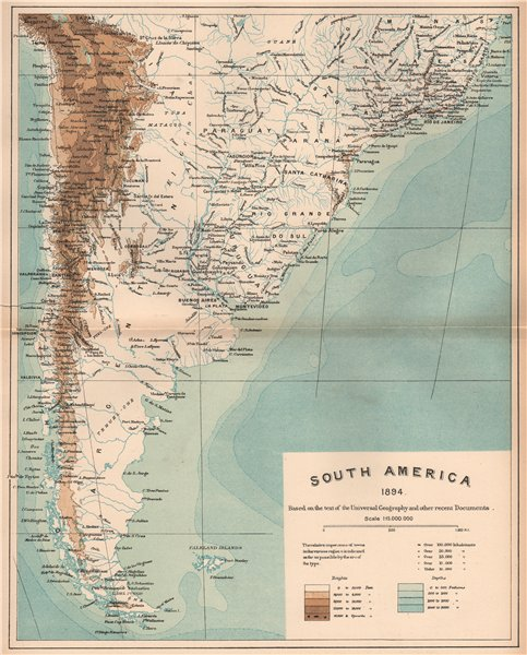 Associate Product South America 1885 old antique vintage map plan chart