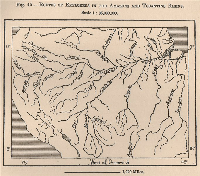 Routes of Explorers in the Amazons and Tocantins Basins. Brazil 1885 old map
