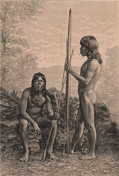 Associate Product Caraya Indians. Brazil. Goiás 1885 old antique vintage print picture