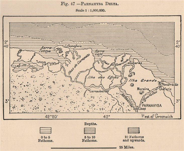 Associate Product Parnaiba Delta. Ilha Grande. Brazil 1885 old antique vintage map plan chart