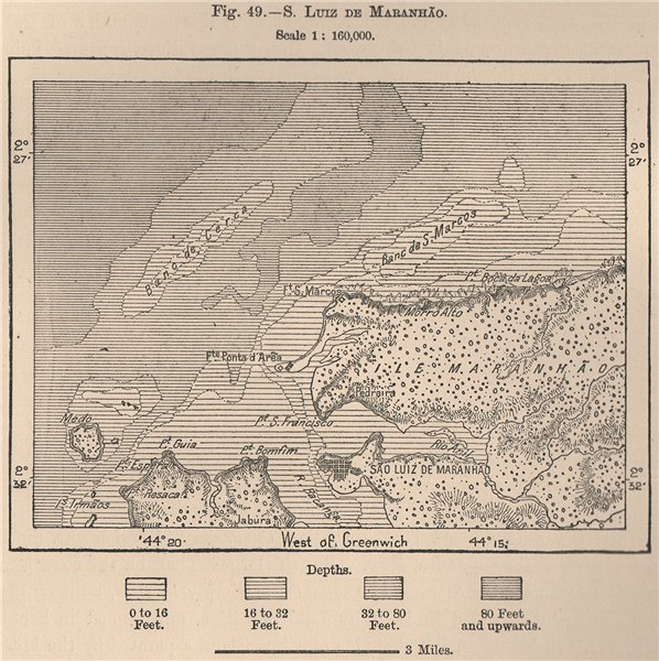 Associate Product Sao Luiz de Maranhão. Maranhao. Brazil 1885 old antique vintage map plan chart