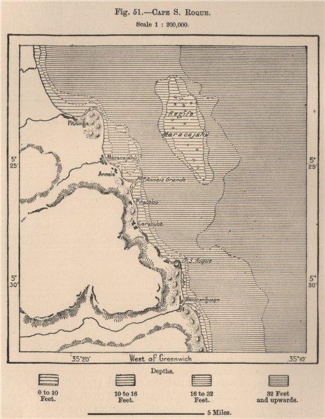 Associate Product Cape San Roque. Cape São Roque. Brazil 1885 old antique vintage map plan chart