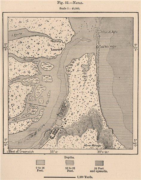 Natal. Brazil 1885 old antique vintage map plan chart