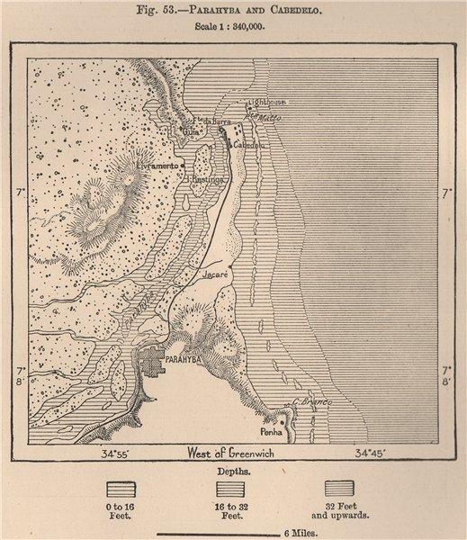 Associate Product Paraiba (João Pessoa) and Cabedelo. Brazil 1885 old antique map plan chart