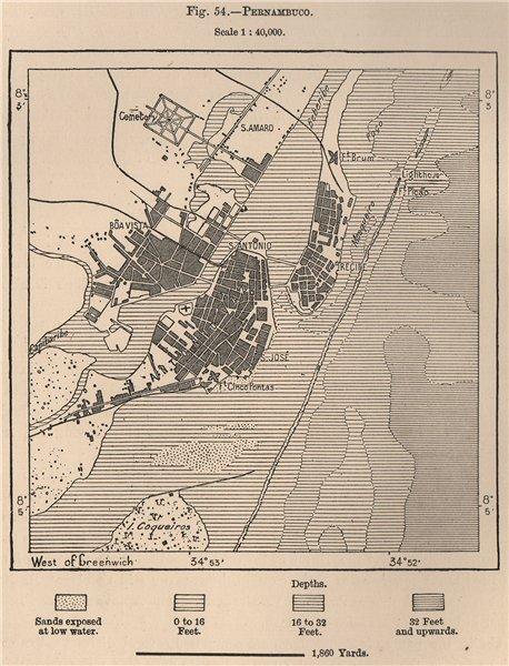 Pernambuco. Brazil 1885 old antique vintage map plan chart