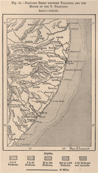 Associate Product Pernambuco/Alagoads coast. Reefs from Paraiba-Sao Francisco. Brazil 1885 map