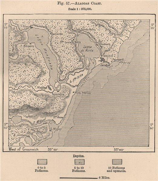 Associate Product Alagoas Coast. Brazil 1885 old antique vintage map plan chart