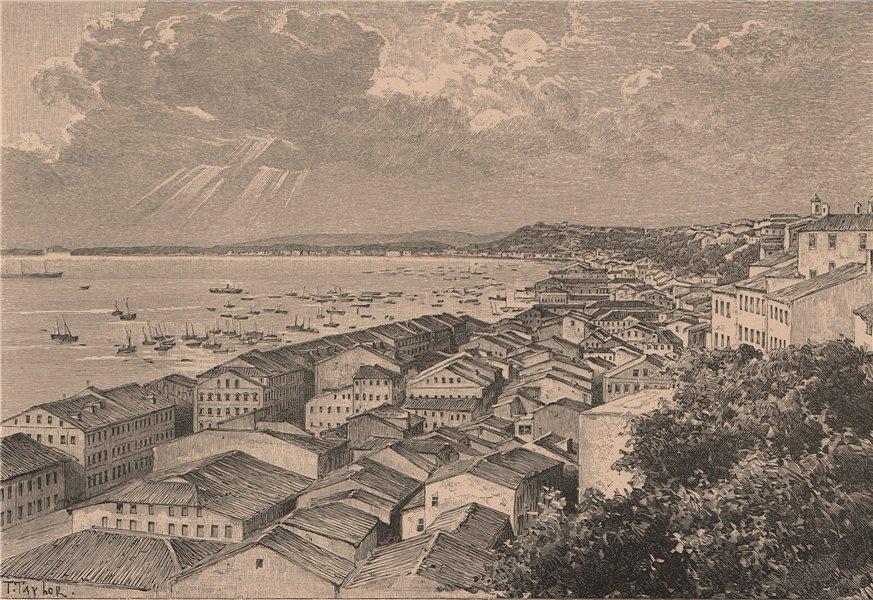 Associate Product Salvador de Bahia - General view of the bay. Brazil 1885 old antique print