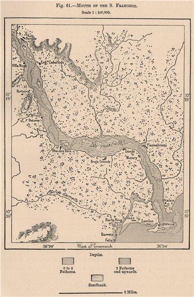 Associate Product Mouth of Sao Francisco river.Piacubucu Penedo.Alagoas/Sergipe.Brazil 1885 map