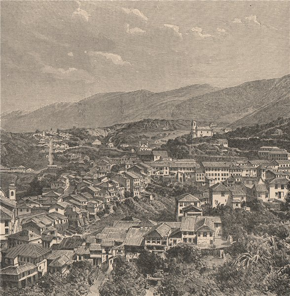 Associate Product Ouro Preto - General view. Brazil 1885 old antique vintage print picture
