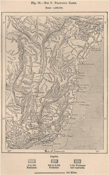 Rio Sao Francisco basin Rio Janeiro Espirito Santo Bahia coast Brazil 1885 map