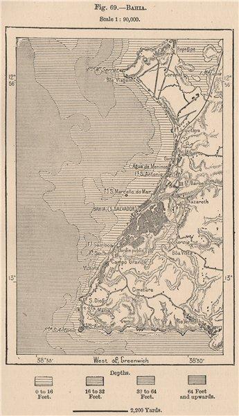 Associate Product Salvador de Bahia. Brazil 1885 old antique vintage map plan chart