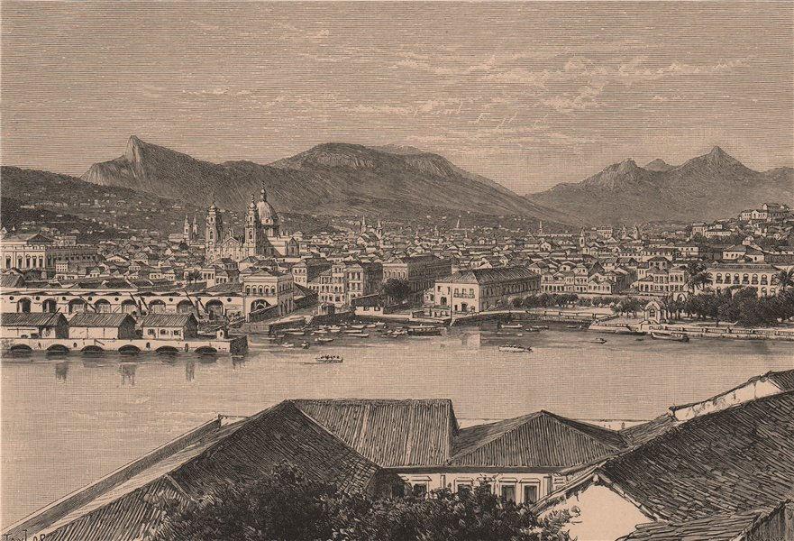 Associate Product Rio de Janeiro - View from Ilha das Cobras Island. Brazil 1885 old print