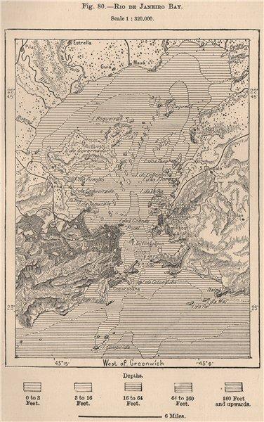 Associate Product Rio de Janeiro bay. Brazil 1885 old antique vintage map plan chart