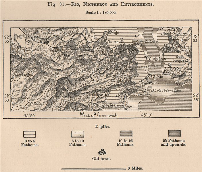Associate Product Rio de Janeiro, Niteroi and environs. Brazil 1885 old antique map plan chart