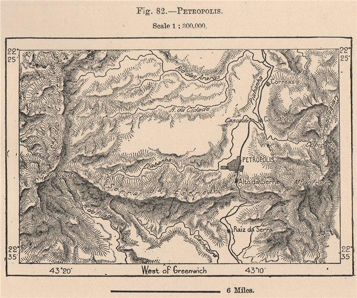Associate Product Petropolis. Brazil 1885 old antique vintage map plan chart