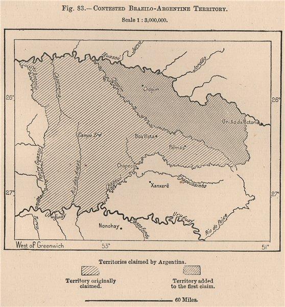 Associate Product Disputed Brazil-Argentina border territory. Parana Santa Catarina 1885 old map
