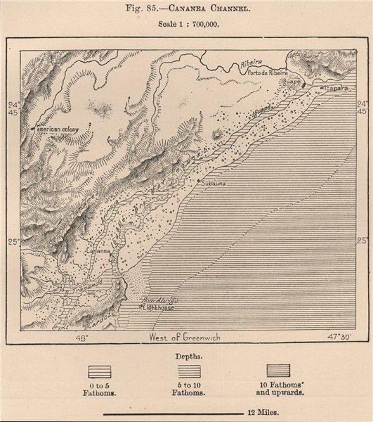Associate Product Cananeia Channel.Mar Pequeno.'American colony'.Ilha do Cardoso Brazil 1885 map
