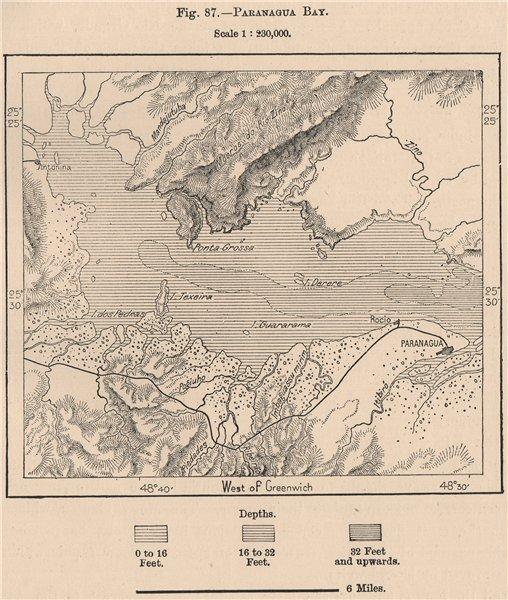Associate Product Baia de Paranagua bay. Brazil. Parana 1885 old antique vintage map plan chart
