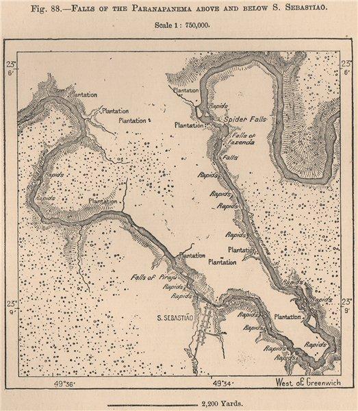 Associate Product Falls of the Paranapanema above and below Sao Sebastiao. Brazil 1885 old map