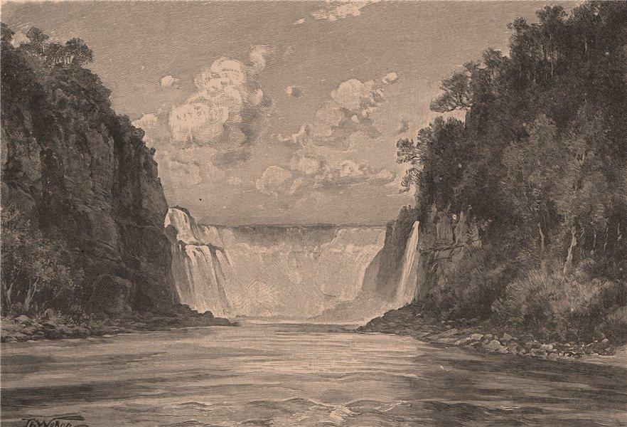 Associate Product Iguaçu Falls. Rio Iguazu. Brazil/Argentina. Parana 1885 old antique print