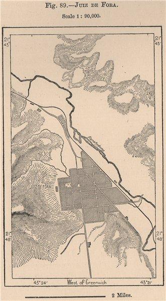 Associate Product Juiz de Fora, Minas Gerais. Brazil 1885 old antique vintage map plan chart