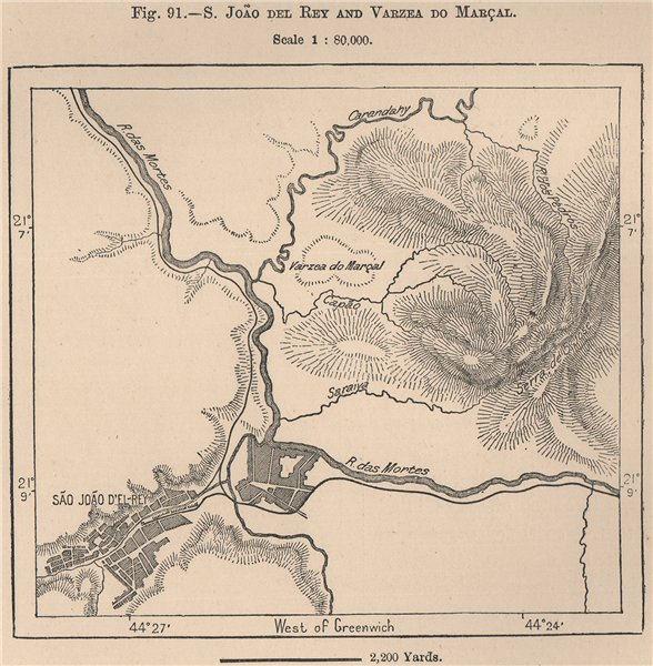 São João/Sao Joao del Rei/Rey and Varzea do Marçal.Brazil.Minas Gerais 1885 map