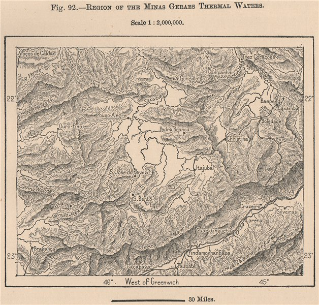 Associate Product Region of the Minas Gerais thermal waters. Brazil 1885 old antique map chart