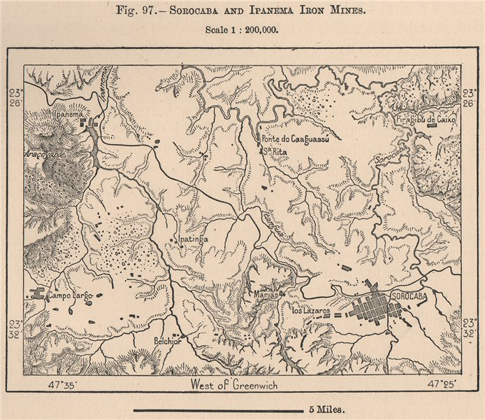 Associate Product Sorocaba and Ipanema Iron mines. Brazil 1885 old antique map plan chart